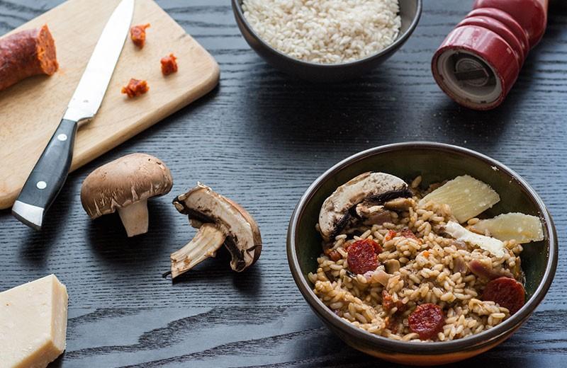 Recette risotto aux champignons et chorizo