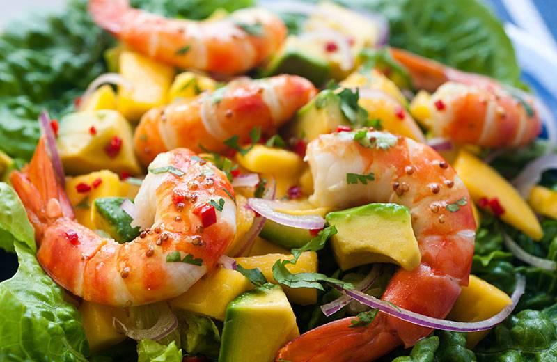 Recette salade d'avocat à la mangue et aux crevettes